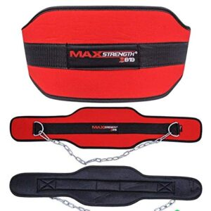 Crossfit Sport Belt With Chain Adjustable Gym Musculation Waist Lifting Weights Lifting Dipping Belt Squat Dip Pull Up Weightlifting Equipment Dipping Belts Made of Thick Layer Available in Red Colour