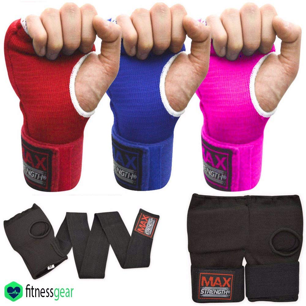 Max Strength-Boxing Hand Wraps Inner Gloves for Punching Knuckle and Fist Protection Elasticated Long Wrist Wrap Great for MMA, Muay Thai, Kickboxing & Martial Arts Weight Lifting Gym S/M, Red