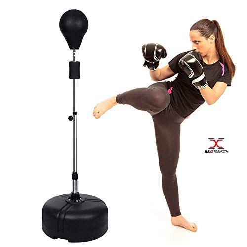 Max Strength ® Free Standing Boxing Punching Bag Speed Ball Adjustable Height Freestanding- For Training, Practice, Reaction Speed, etc Reflex Bag for Adult Black