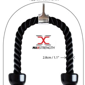 Max Strength Barbel Machine Pro Grip Revolving Rope Attachment Nylon Triceps Rope