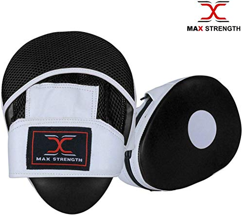 Max Strength Boxing Training Focus Pads Hook Jab Mitts UFC Sparring Punch Bag Gym Fight Workout (RedWhite) (BlackWhite, Standard)