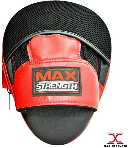 Max-Strength-Boxing-Training-Focus-Pads-Hook-Jab-Mitts-UFC-Sparring-Punch-Bag-Gym-Fight-Workout-RedWhite-RedBlack-Standard