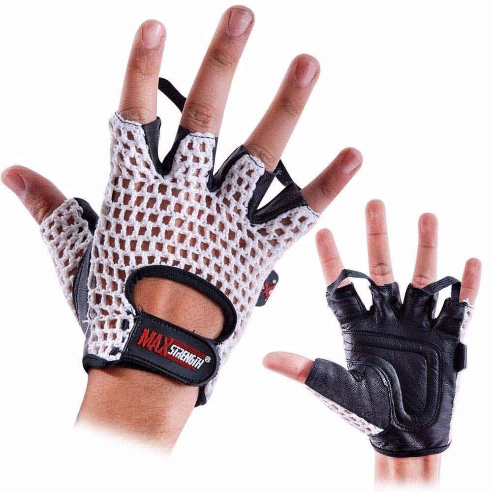 Max Strength Meshback Weight Lifting Gloves With Genuine Leather, Padded Palms, Cotton Mesh Backs, And Soft Terry Lining LXL