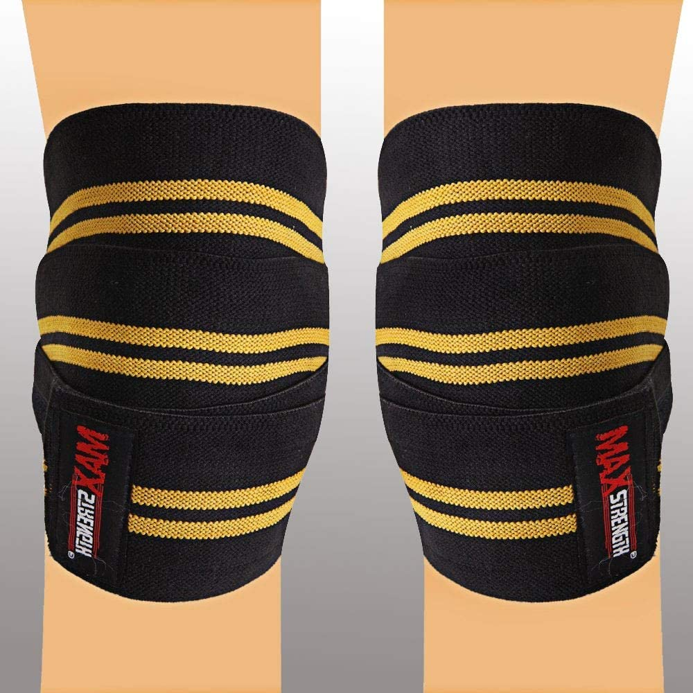 Knee Wraps Weight Lifting Heavy Duty Elasticated Knee Support Straps Velcro Closure Home Gym Training Workout