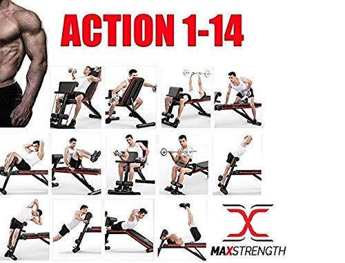 Max Strength- Adjustable Weight Bench Fitness - Foldable Incline Decline for Home Training Gym Utility Exercise Bench Press Dumbbell Bench